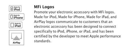 MFi  (Made for iPod/iPhone/iPad)