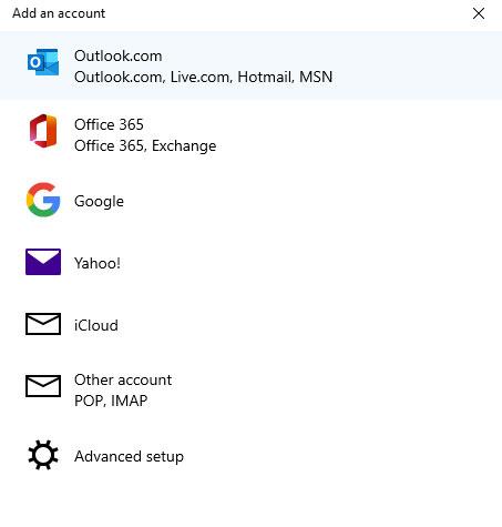 เพิ่มบัญชีติดต่อ Windows 10