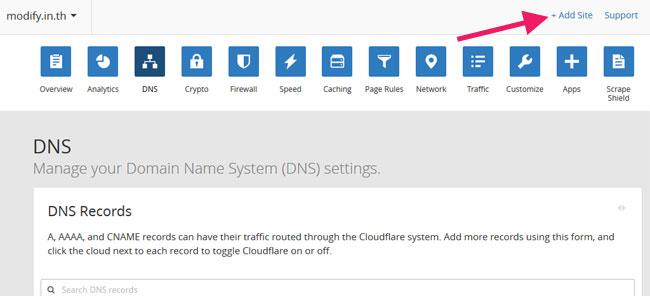 เพิ่มเว็บไซต์ Cloudflare