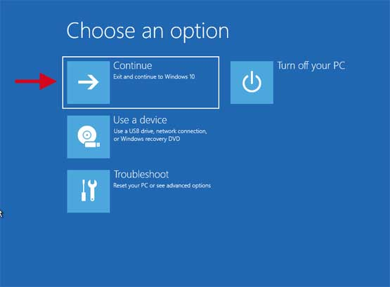Choose an option Continue