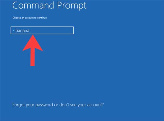 Command Prompt Choose an account ro Continue