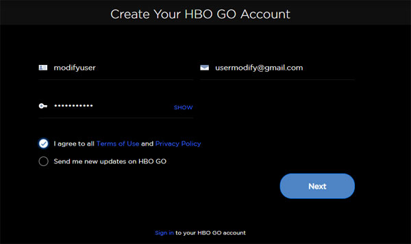 Create Your HBO GO Account