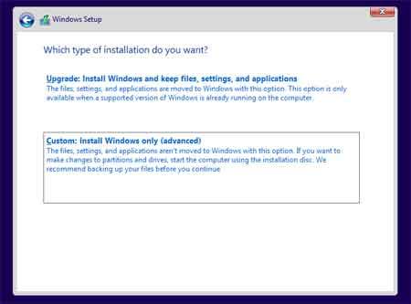 Cumstom : Install Windows only (advanced)