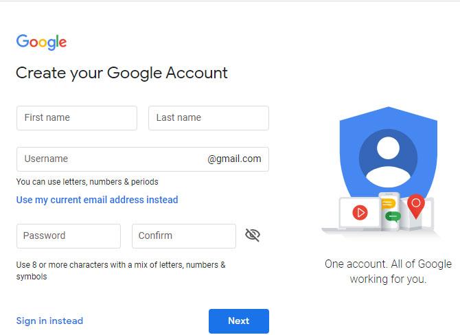 สร้างบัญชี Google ของคุณ ส่วนแรก