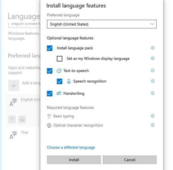 Install Language features Windows 10