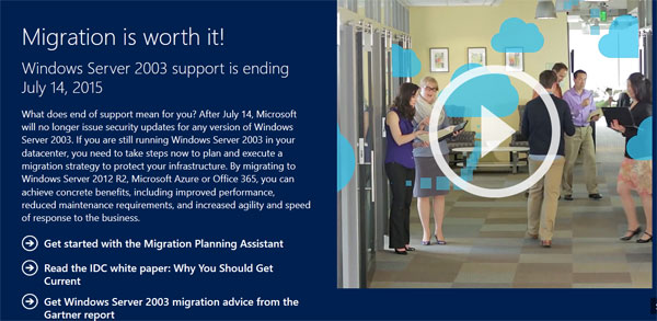 Migration is worth it! Windows Server 2003 support is ending