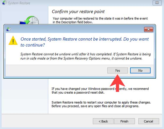 Once started system restore cannot be interrupted