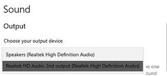 Output Windows 10