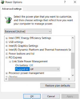 Power options PCI EXpress On Battery