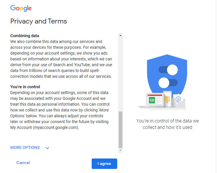 Privacy and Terms Gmail