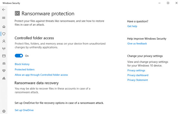 Ransomware Protection Windows 10