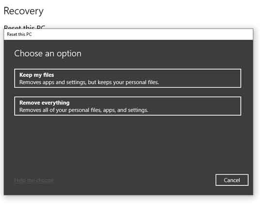 Recovery Reset this PC Keep my files or Remove everything