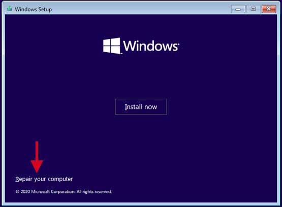 ติดตั้ง Windows Repair your computer