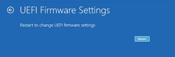 Restart to change UEFI firmware settings