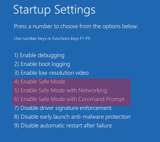 Safe Mode menu