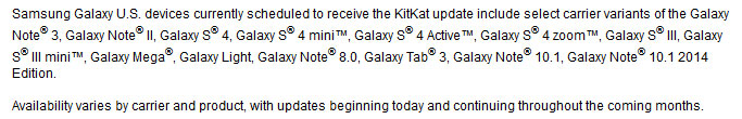 Samsung-Galaxy ที่จะได้อัพเดทเป็น Android 4.4.2 KitKat