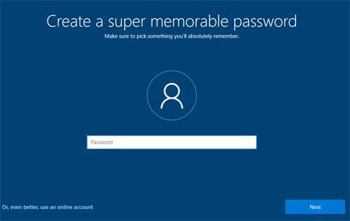 Set Password user Windows 10
