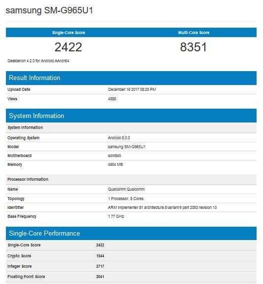 Benchmark Snapdragon 845