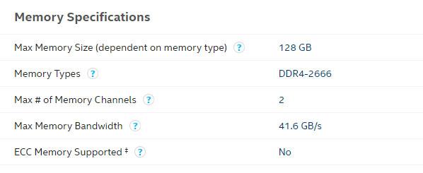สเปค CPU เกี่ยวกับ RAM ที่รองรับ