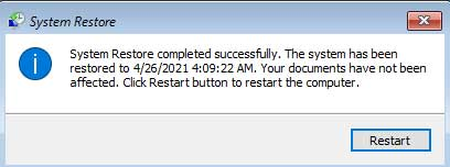 System restore completed successfully. The system has been restored to วันที่ Your documents have not been affected.