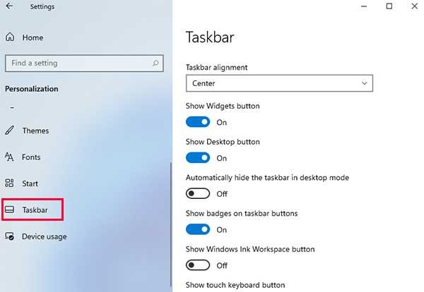 Taskbar Setting Windows 11