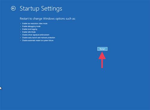 Troubleshoot Advanced options Startup Settings restart