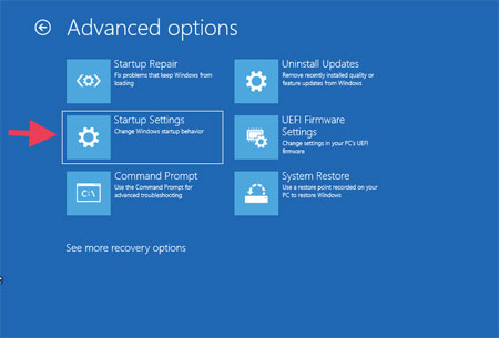Troubleshoot Advanced options Startup Settings