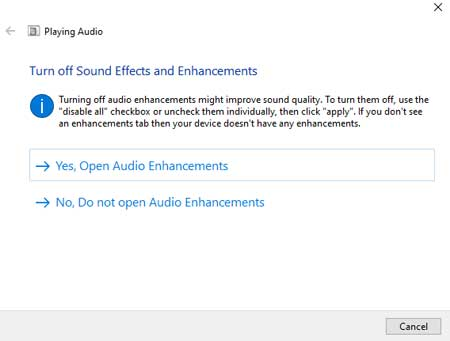 Turning off Sound Effects and Enhancements