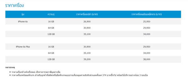 ราคา iPhone 6s และ iPhone 6s Plus จาก Dtac