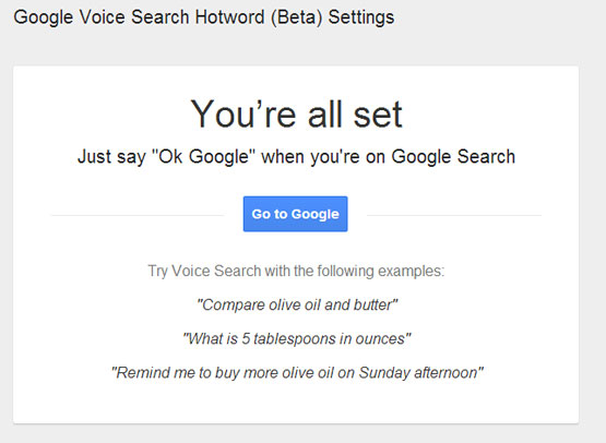 "You're all set Just say ""Ok Google"" when you're on Google Search"