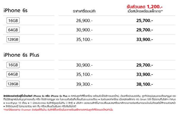 ราคา iPhone 6s และ iPhone 6s Plus จาก TrueMove H