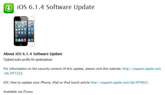 iOS 6.1.4 Software Update