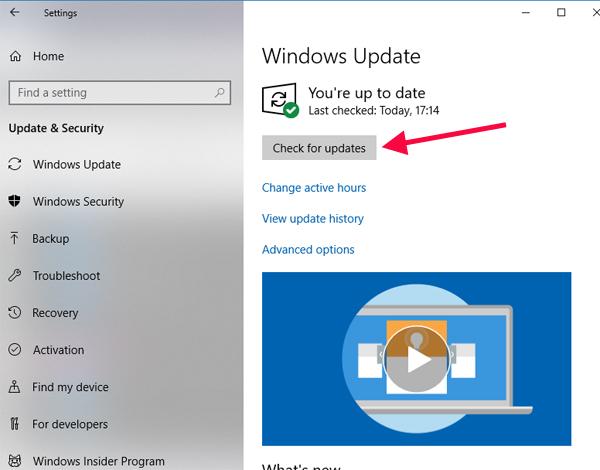 Check Update Windows 10