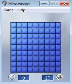เมื่อเกม Minesweeper ขึ้นมา  ครั้งแรกเราต้องมั่วไปก่อนสัก 2 สามจุด เพื่อให้เห็นแนวโน้มการเล่น หากใครดวงซวยอาจโดนระเบิดเลยก็ได้ ^^