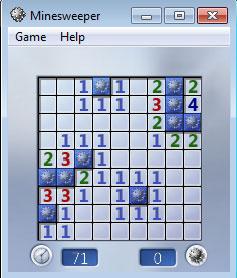 วิธีเล่น Minesweeper ก็ไม่มีอะไร อันดับแรกคือวัดดวงไปก่อน 3-4 ครั้งจากนั้นวเคราะห์ตามที่บอกคือมองดูตัวเลขว่ารอบตัวมันมีเท่าไหร่ ให้พยามมองเลข 1 ไว้ก่อนแล้วหาระเบิดให้ได้ 1 ลูกแสดงว่ารอบตัวนอกจากนั้นไม่มีระเบิดแล้ว ลองมองจากภาพด้านบนแล้ววิเคราะห์ดูนะจ๊ะ