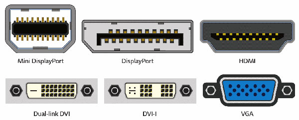 VGA, DVI, HDMI, DisplayPort