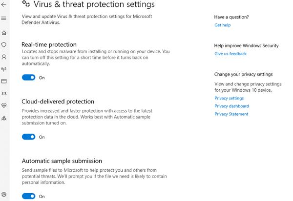 Virus & Threat protection Setting
