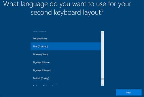 What language do you want to use for your second keyboard layout?