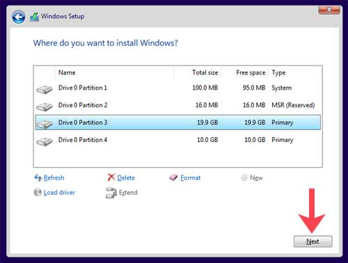 Where do you want to install Windows