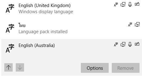 Windos 10 ลบภาษาไม่ได้