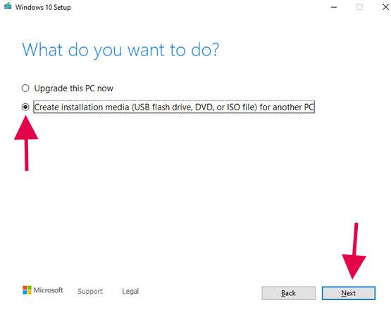 Windows 10 Setup to usb flash drive