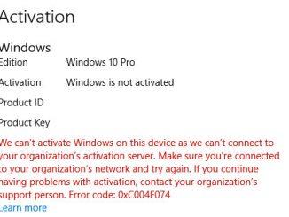 เราไม่มสามารถเปิดใช้งาน Windows บนอุปกรณ์นี้ได้เนื่องจากเราไม่สามารถเชื่อมต่อไปที่เซิร์ฟเวอร์การเปิดใช้งานขององค์กรของคุณ ตรวจสอบให้แน่ใจว่าคุณได้เชื่อมต่อกับเครือข่ายขององค์กรแล้วลองอีกครั้ง หากคุณยังคงพบปัญหาในการเปิดใช้งาน กรุณาติดต่อผู้ดีแลขององค์กร รหัสข้อผิดพลาด 0xC004F074