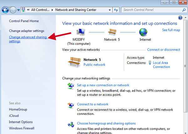Control Panel\All Control Panel Items\Network and Sharing Center