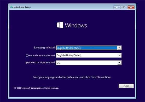 Windows setup Language to install
