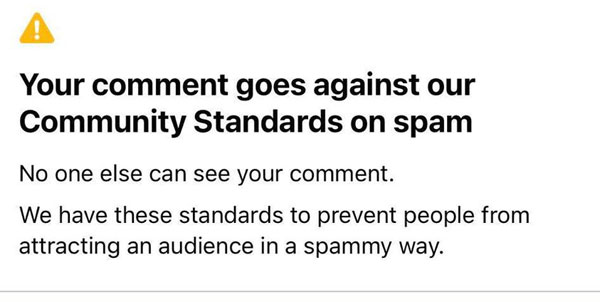 Your Comment goes against our Community Standards on spam.