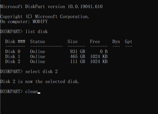 clean disk