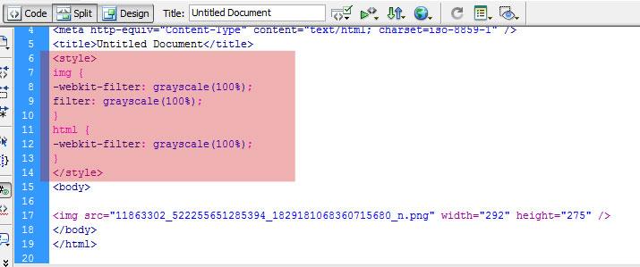 ตัวอย่างใส่ css สีขาวดำในเว็บไซต์ สำหรับไม่มีไฟล์ CSS