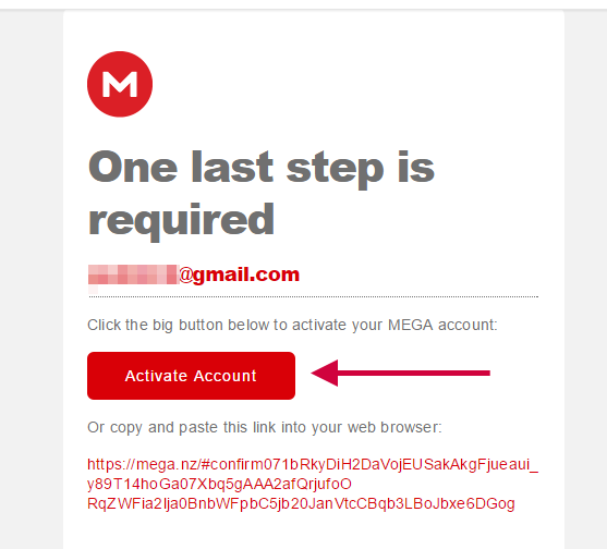 ยืนยันอีเมล MEGA