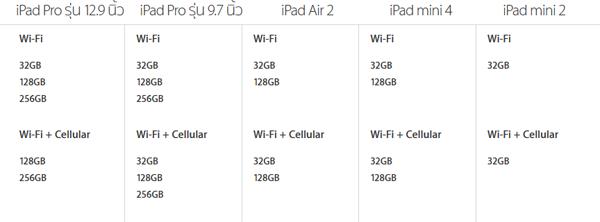 iPad ความจุ