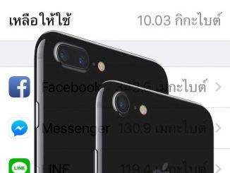 iphone พื้นที่จ้ัดเก็บข้อมูล
